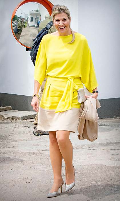 <p>Queen Maxima of the Netherlands was looking sunny in a beige and yellow dress during her visit to Nigeria on Oct 31. The Dutch royal was in Lagos in her role as United Nation Secretary Generals Special Advocate for Inclusive Finance for Development.