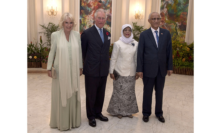 Singapore's President Halimah Yacob and her husband, Mohamed Abdullah Alhabshee, hosted a special dinner for the royal couple at the palace. 