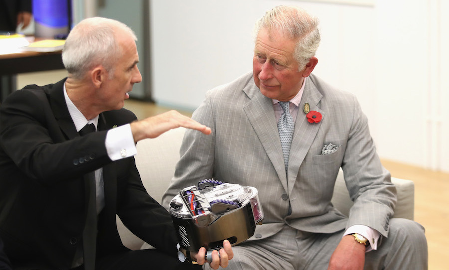 The Prince of Wales was in great spirits when he stopped by the Singapore Technology Centre, where he met with Dyson CEO Jim Rowan to learn about some of his new innovations. The father of two was even up for some chores as he tried out the cordless Dyson V8 Absolute vacuum.   