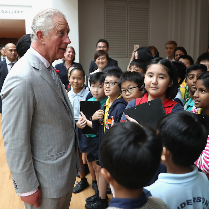 The Prince of Wales chatted with a group of young people before visiting the National Gallery in Singapore. The remarkable attraction houses the world's largest public collection of Southeast Asian art. 