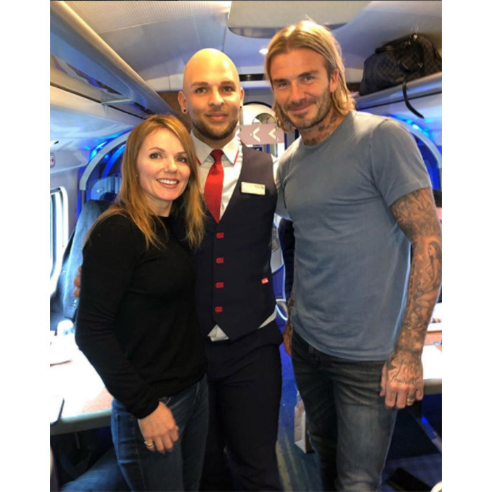 <p>Geri Horner shared a photo on Instagram with David Beckham, after bumping into each other on a train.</p>