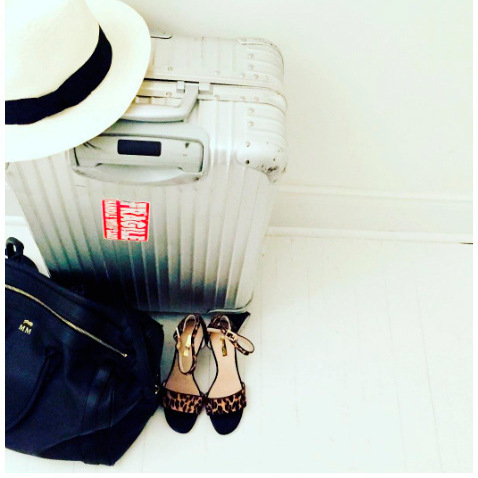 <p>When it comes to traveling, whether through Europe with her friends, or Africa with her boyfriend Prince Harry, we expect the actress has a durable set of luggage! On at least one voyage, Meghan counted on this suitcase by Rimowa and roomy monogrammed bag by Hunting Season. <br /><br />Photo: Instagram/@meghanmarkle</p>