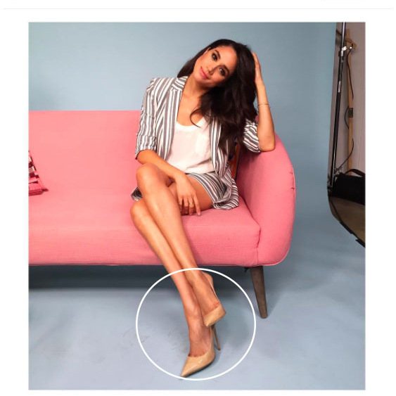 <p>It hasn't gone without notice that, from her bold brows to classic wardrobe, that Meghan has a lot in common with Prince Harry's sister-in-law the Duchess of Cambridge. Another style similarity? They both love nude heels. Here, Meghan rocks neutral stilettos by Jimmy Choo.<br /><br />Photo: Instagram/@meghanmarkle</p>