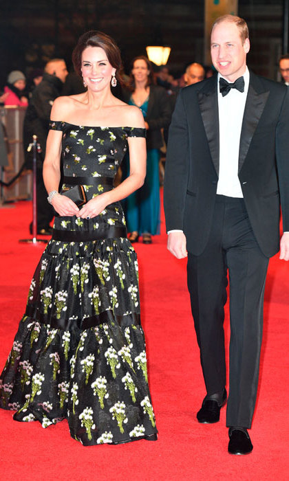 Kate stole the show at the 2017 BAFTA awards dressed in a bespoke strapless black Alexander McQueen gown embellished with white flowers. She wore her hair swept back in a chignon to highlight her dazzling diamond drop earrings.
