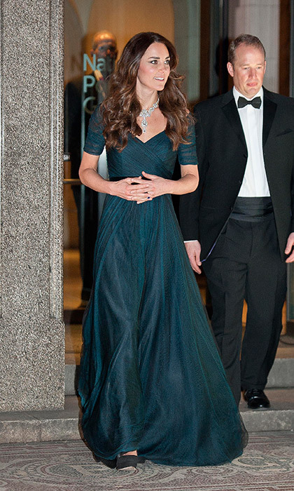 Stunning in a dark blue Jenny Packham gown at the Portrait Gala in 2014, which she paired with a dazzling diamond necklace.
