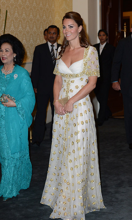 Wearing her go-to designer Alexander McQueen for an official dinner hosted by Malaysia's Head of State in Kuala Lumpur in September 2012.
