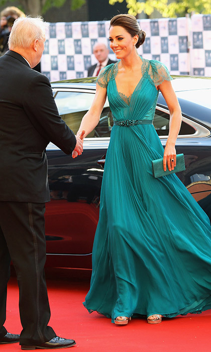 A more daring sartorial choice for Kate, the royal dazzled in this teal Jenny Packham gown as she attended the Olympic Concert in London in May, 2012.