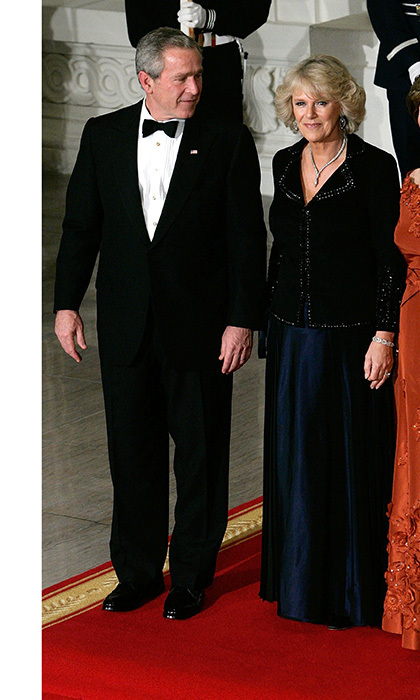 <p><strong>LAURA BUSH AND CAMILLA, DUCHESS OF CORNWALL</strong> Prince Charles and Duchess Camilla's eight-day visit to the US in November 2005 included this black-tie dinner at the White House hosted by President George W. Bush and First Lady Laura. Both the Duchess and the President's wife wore floor length gowns in autumnal hues for the celebration.</p>