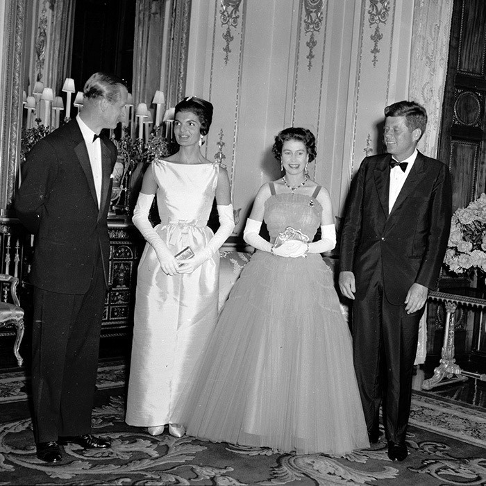 <p><strong>JACQUELINE KENNEDY AND QUEEN ELIZABETH II</strong> It was a historic moment on 5 June 1961 as Queen Elizabeth II and Prince Philip hosted President John F Kennedy and First Lady Jackie Kennedy at Buckingham Palace – and for more reasons than one! Not only was it a landmark visit, but it also was an early example of royal style and first lady fashion becoming a story in and of itself. Many royal watchers at the time debated whether glamorous Jacqueline's silk Chez Ninon dress upstaged the monarch's Norman Hartnell creation.</p>