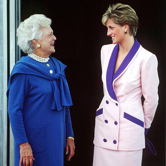 <p><strong>BARBARA BUSH AND PRINCESS DIANA</strong> The very popular Princess of Wales charmed President George HW Bush's wife Barbara during a visit to the White House in October 1990. While the first lady wore her signature pearl necklace, Diana donned a pink suit with purple accents by one of her favorite designers, Catherine Walker.</p>