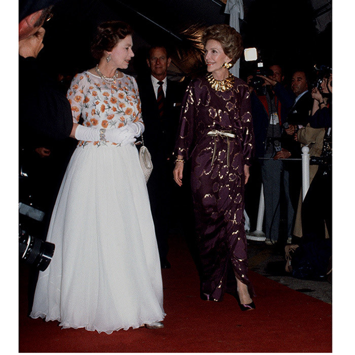 <p><strong>NANCY REAGAN AND QUEEN ELIZABETH II</strong> Both the first lady and the Queen were away from home for this meet-up in February 1983. Both wearing glam evening gowns on the red carpet, the two were attending a concert in Long Beach, California. The jaunt was the Queen's first visit to the West Coast of the United States.</p>