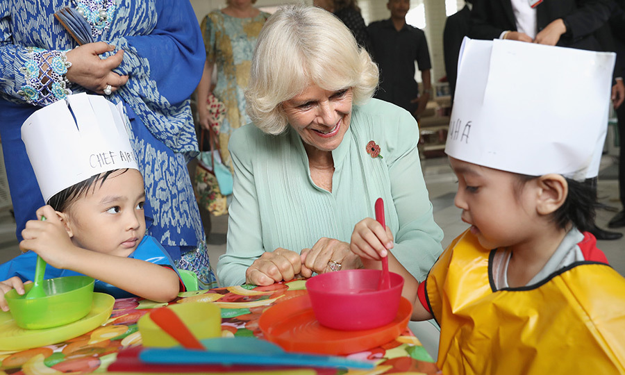 <p>What are you cooking up there? Camilla, Duchess of Cornwall had some fun with some pint-sized chefs at the Pusat Anak Permata Negara (PAPN) charity in Kuala Lumpur.