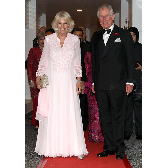 <p>In the evening the royal couple attended a black tie ball, with Prince Charles dapper in a tux and Camilla pretty in pink. The party, held at the Majestic Hotel, was to celebrate 60 years of UK-Malaysia diplomatic ties.