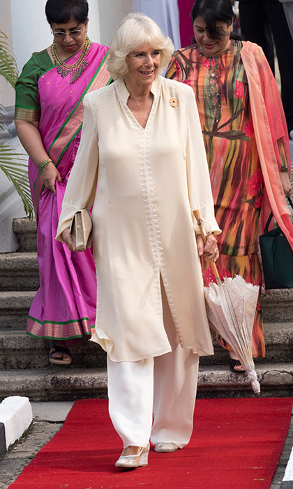 <p>Traveling in Southeast Asia, Camilla, Duchess of Cornwall beat the heat in a silk caftan and trousers on November 7. The royal was with husband Prince Charles visiting St George &amp; Otilde's Church in Penang, Malaysia. <br /><br />Photo: Arthur Edwards - Pool / Getty Images</p>