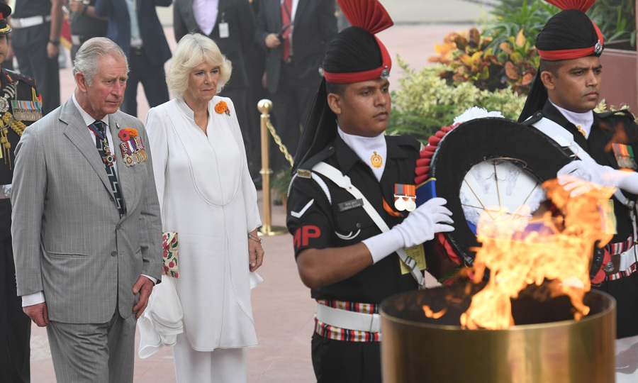 <p><strong>November 9</strong><br /><br />Prince Charles and the Duchess of Cornwall made their way to the India Gate to observe a ceremony at the Amar Jawan Jyoti war memorial.<br /><br />Photo: Getty Images</p>