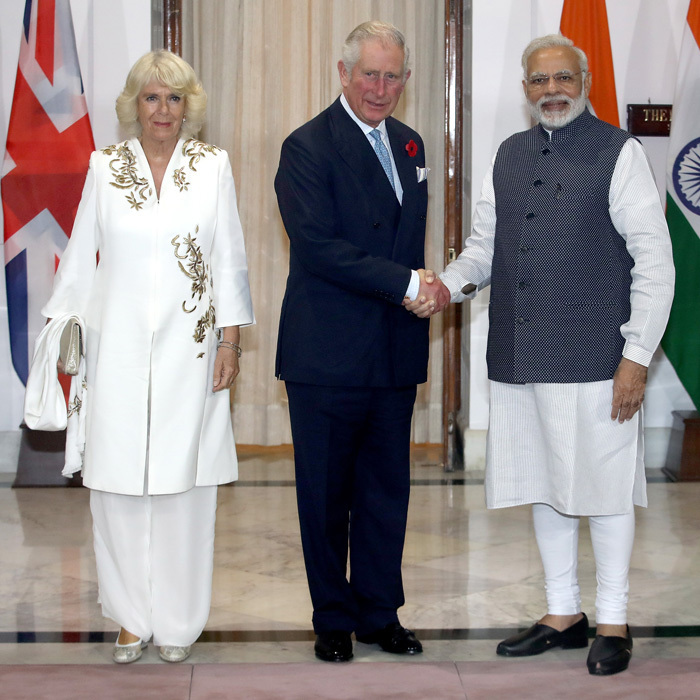 <p>Camilla and Charles changed out of their plane clothes to later meet with Prime Minister of India Narendra Modi at Hyderabad House. <br /><br />Photo: Getty Images</p>