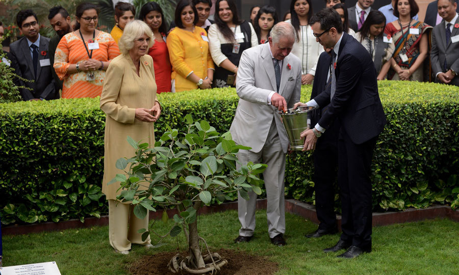<p>Prince Charles and Camilla planted a tree at the British Council in New Delhi. The couple, along with the guests, wore a Remembrance poppy in honor of Veteran's Day.<br /><br />Photo: Getty Images</p>