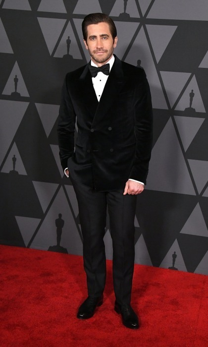 <p>Also dressed in cozy black velvet attire was Jake Gyllenhaal. The 36-year-old Oscar-nominee opted to mix up his usual suit-style by wearing a softer jacket and bowtie. Jake, who has been working the circuit for his film <em>Stronger</em>, seemed happy to be at the celebratory evening as he stopped for photos.</p>