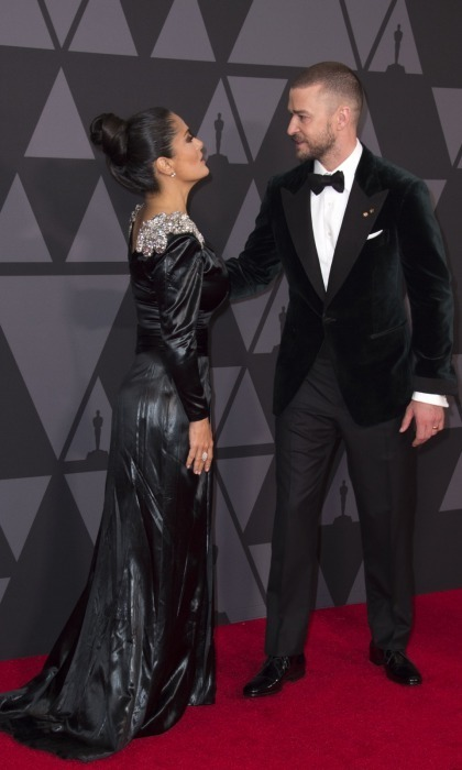"<p>Justin Timberlake seemed to take a page from Jake's fashion book, exchanging his ""suit and tie"" for a velvet jacket and bowtie. In a fun carpet moment, the superstar caught up with Salma Hayek. The pair hugged and kissed, before heading into the event.</p>