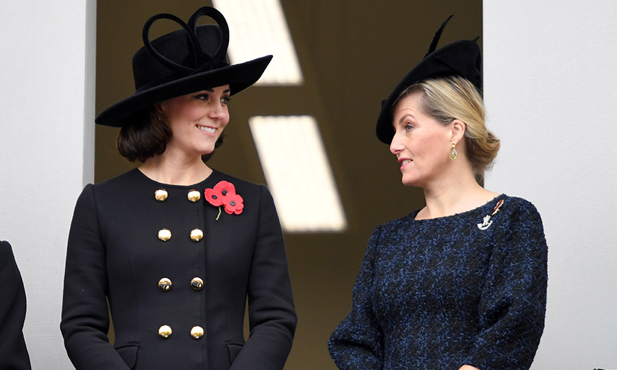 On Remembrance Sunday (Nov. 12), Kate stepped out in a collarless long coat by Dolce & Gabbana. Her topper is the same Philip Treacy creation she wore to Prince William's graduation from Sandhurst in 2006. She completed the look with a pair of Oscar de la Renta Sun Star earrings. 