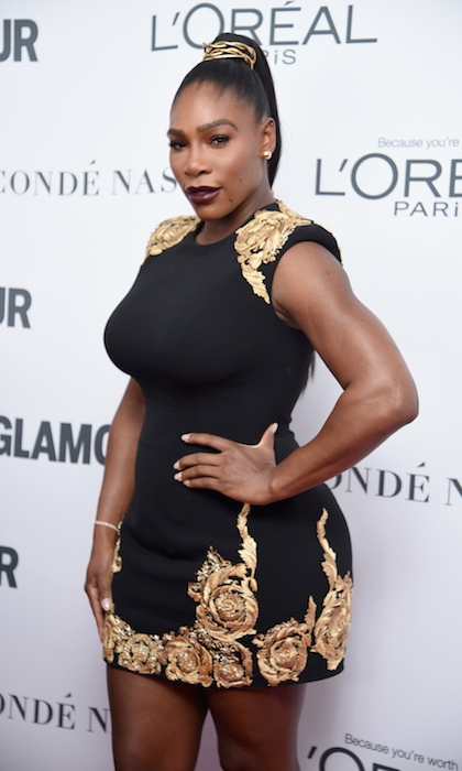 A Versace-clad Serena Williams made her first red carpet appearance since welcoming daughter Alexis Olympia at the 2017 Glamour Women of the Year Awards in Brooklyn. 