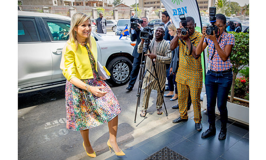 <p>Queen Maxima was ready for her close-up, greeted by photographers as she headed to the UN office in Abuja, Nigeria on November 1. The royal was in the African country for a three-day visit.<br /><br />Photo: Patrick van Katwijk/Getty Images</p>