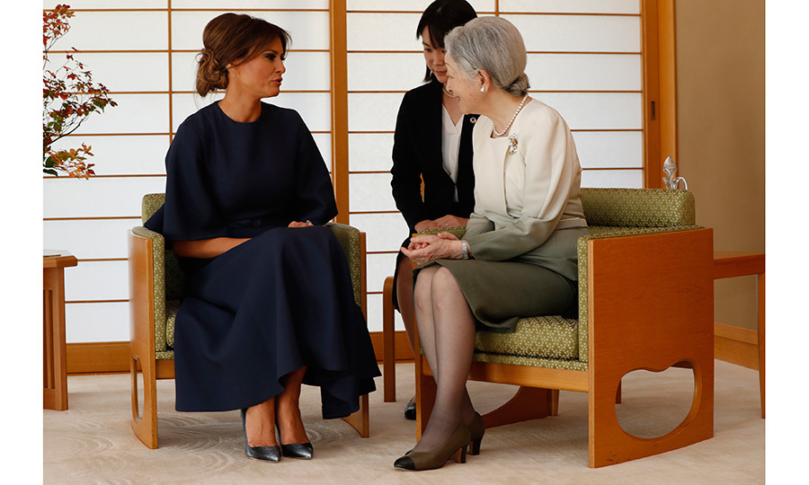 <p>After meeting Prince Harry and Queen Rania of Jordan this year, First Lady Melania Trump had another royal moment with 83-year-old Empress Michiko of Japan. The Empress and Melania – visiting the country with her husband, President Donald Trump – enjoyed a chat at the Imperial Palace in Tokyo on November 6.<br /><br />Photo: ISSEI KATO/AFP/Getty Images</p>