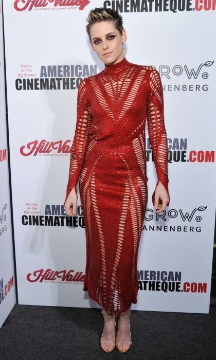 Kristen Stewart was red hot as she supported Amy Adams at the 31st American Cinematheque Award presentation at The Beverly Hilton Hotel on November 10 in Beverly Hills. The 27-year-old's look was on fire, from her Julien Macdonald dress to her matching eye makeup.</p>