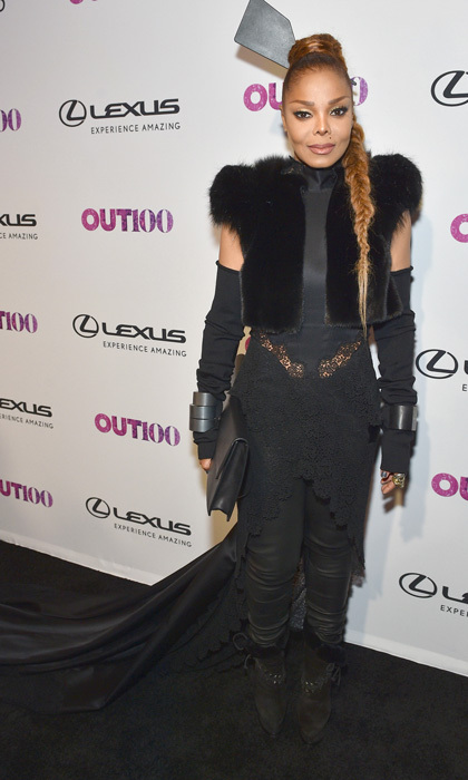 Janet Jackson wore all black to the Out100 Gala in NYC. The <em>Black Cat</em> singer added a long train to her look and kept her hair in a long braid.