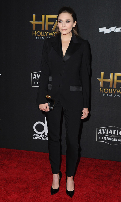 Elizabeth Olsen also wore a powersuit on the Hollywood Film Awards carpet. The <em>Avengers</em> actress wore a black Dolce & Gabbana tuxedo with Jimmy Choo pumps.