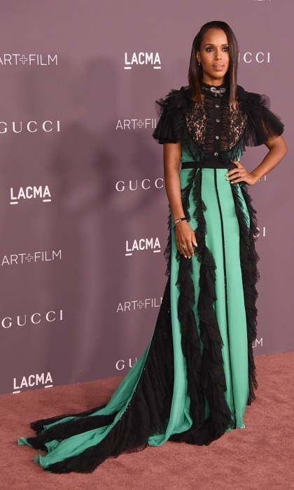 "Kerry Washington was far from ""scandalous"" at the 2017 Art + Film gala, which honored Mark Bradford and George Lucas at LACMA. The actress rocked a long Gucci number that featured frilled accents. She wore her hair down and accessorized with stunning jewelry by Neil Lane.