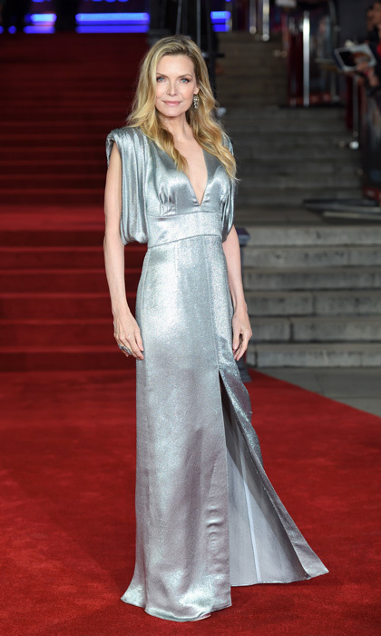 Michelle Pfeiffer was certainly no devil in Prada at the Murder on the Orient Express red carpet in London. The actress stunned in this silver metallic gown with a plunging neckline and high slit.