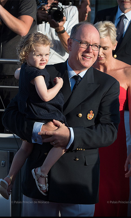 <p>Proud dad Prince Albert held on to his little girl throughout the event, held at Port Hercules, under the initiative of the Yacht Club of Monaco.<br /><br />Photos: Facebook / © Photos: E. Mathon, G. Luci and A. Bastello / Palais Princier de Monaco</p>