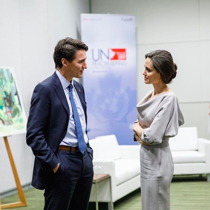 "Angelina Jolie reunited with Prime Minister Justin Trudeau in Vancouver on Wednesday (Nov. 15), as both attended this year's United Nations' Peace Conference. The Hollywood actress delivered a passionate speech on behalf of victims of sexual violence while the Canadian PM revealed the government's new plan to help ""protect the vulnerable"" while ""standing ready to help in conflict zone.""