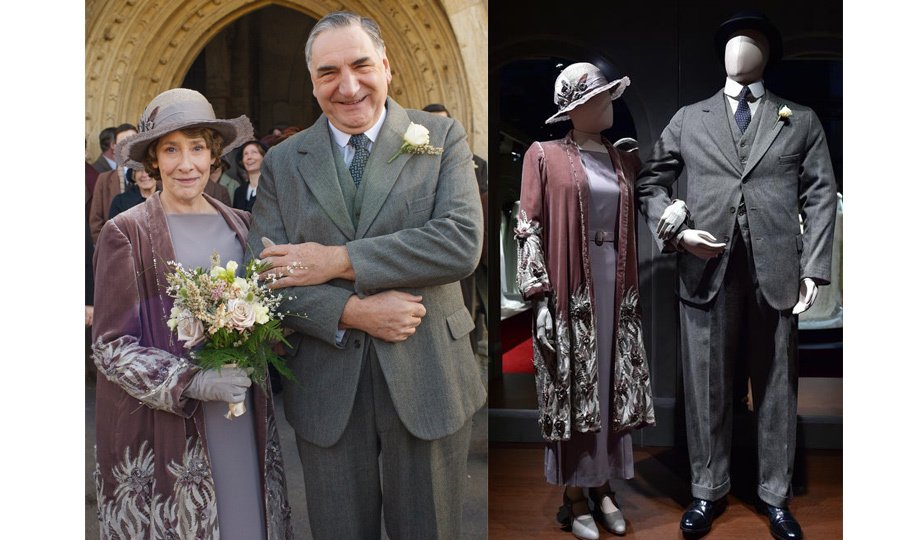 <p>Butler Charles Carson (played by Jim Carter) and head housekeeper Elsie Hughes (played by Phyllis Logan) married in one of the final episodes of the series. Their wedding attire can be seen on display at the exhibit.