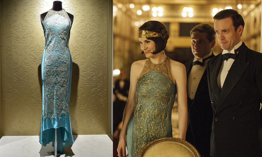 <p>Lady Mary Crawley (played by Michelle Dockery) stunned in a teal lace overlay 1920s gown.