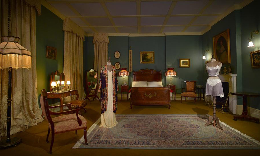 <p>Sleepwear is on display in a replica of Lord and Lady Grantham's room. 