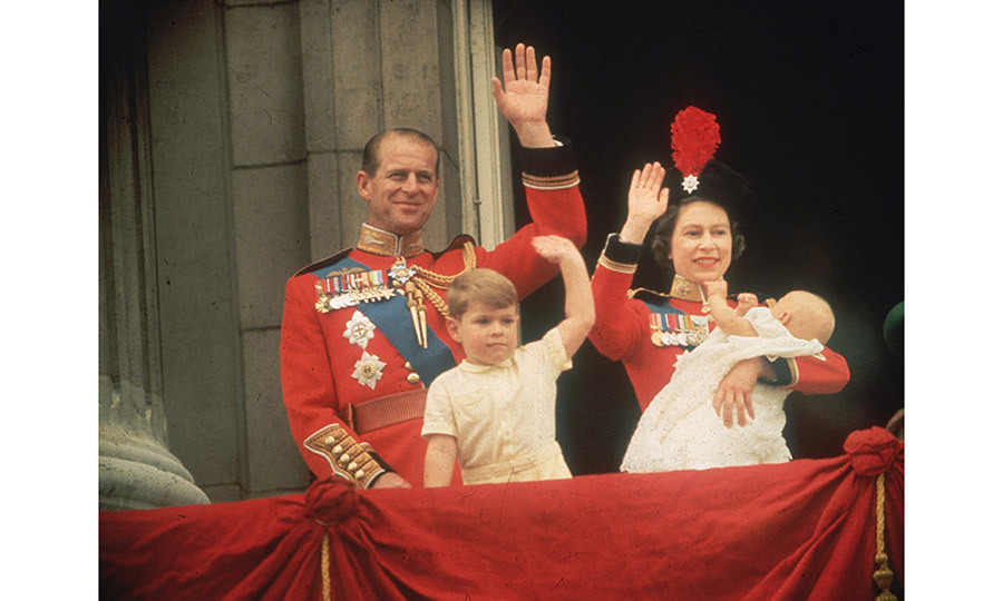 <p>Queen Elizabeth, Prince Philip, Prince Andrew and Prince Edward waving to the crowds from the balcony at Buckingham Palace, during the Trooping of the Colour.</p>