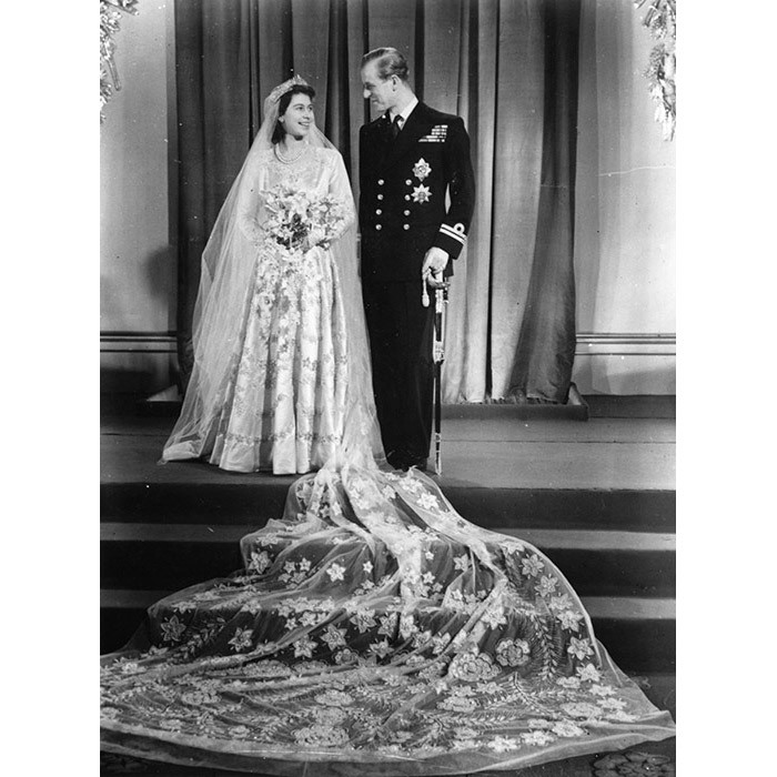 <p>Princess Elizabeth with Philip Mountbatten on their wedding day on 20 November 1947.</p>