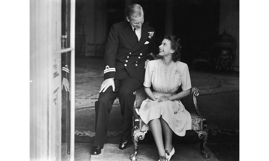 <p>Princess Elizabeth (later Queen Elizabeth II) and her fiance, Philip Mountbatten at Buckingham Palace, after their engagement was announced, 10th July 1947.</p>