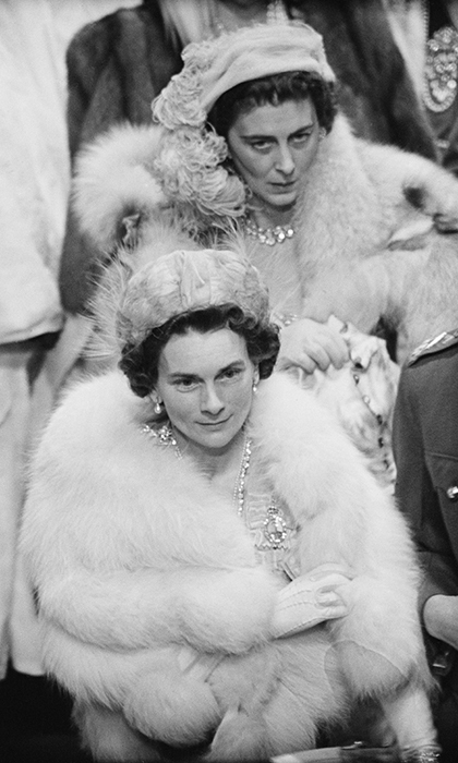 The more than 2,000 guests at the spectacular nuptials – which were broadcast by BBC Radio to 200 million people around the world – turned out in their finest furs and jewels. Here are two of Princess Elizabeth's close relatives, the Duchess of Kent and the Duchess of Gloucester. 