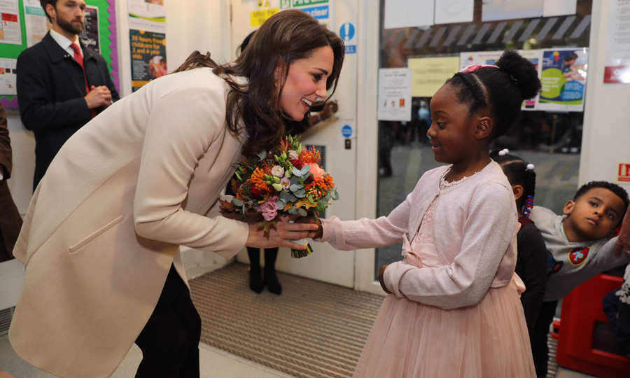 "<p>While visiting the Hornsey Road Children's Centre in London on Tuesday, November 14, Kate Middleton shared a fun fact about her little girl while conversing with Nevaeh, six, who presented Prince Willam's wife with flowers wearing a pink princess-like dress and matching cardigan. ""She asked me what my favorite color is,"" the six-year-old recalled after her royal encounter. ""I said it was pink and she said that's Charlotte's favorite color too.""<br /><br />The Duchess, who is expecting her third child, was originally scheduled to visit the North London center in early September, but had to cancel last-minute due to her severe morning sickness. During the November 14th outing, Prince George's mom also opened up about her husband, 35. <br /><br />After a single father named Billy spoke about his early struggles with parenting, the Duchess revealed that Prince William didn't know exactly what to do when he became a first-time dad. Following his meeting with Kate, Billy said: ""She was saying William was sort of similar and I just wanted to let her know how Family Action have been there for me and I think they need more support.""<br /><br />Photo: Getty Images</p>"