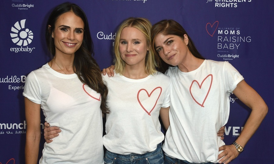 Jordana Brewster, Kristen Bell and Selma Blair united for the Alliance of Moms Raising Baby presented by CuddleBright on November 18 in L.A. The talented trio opted for casual chic in jeans and a heart tee for the fun day of educational parenting workshops.
