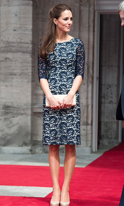 <p>The Duchess looked sleek and sophisticated in a lace overlay Erdem 'Cecile' cocktail dress. Kate was attending a welcoming ceremony at Ottawa's Rideau Hall in June 2011.