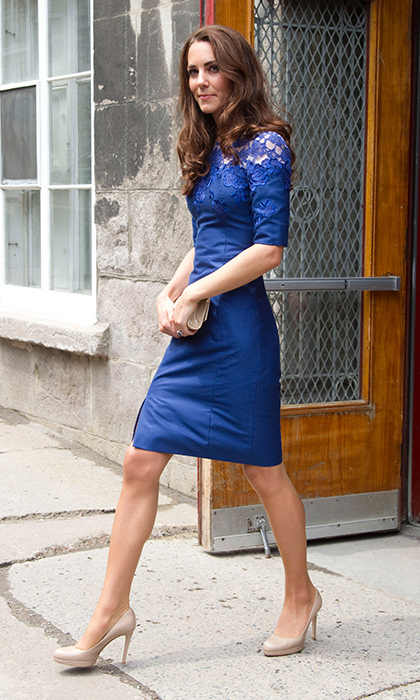<p>The royal enjoyed a pop of royal blue while visiting Quebec in July 2011 for her and Prince William's North American tour. The gorgeous knee-length 'Jacquenta' dress by the designer featured a beautiful lace overlay on the shoulders, similar to the ensemble she wore the week prior.