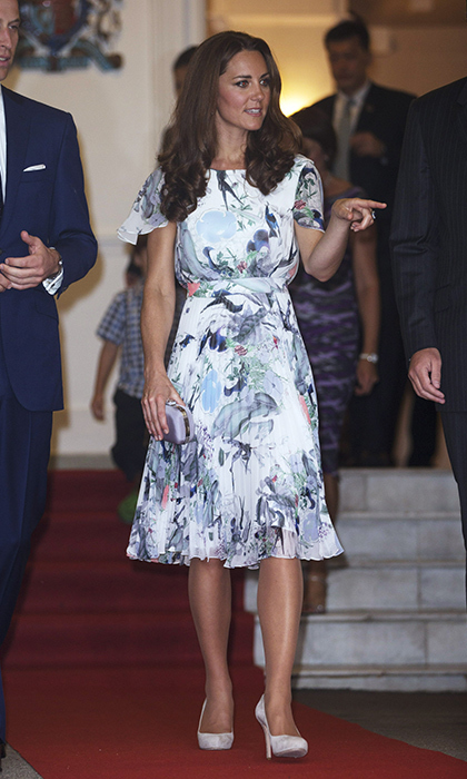 <p>The Duchess and her husband Prince William looked classy as ever while heading for dinner in Eden Hall, the British High Commissioner's residence in Singapore. Kate chose a flowy floral satin Erdem dress (adapted from their 'Meryl' design from the Spring/Summer 2012 collection) for the occasion.