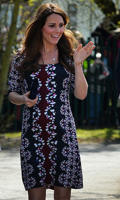<p>Kate chose a fun pattern, Erdem's 'Sophie' dress, for her visit to Manchester's The Willows Primary School in April 2013. The Duchess met with staff and volunteers while the school launched a program in partnership with the Royal Foundation, Comic Relief, Place2Be and Action on Addiction. The royal loves to give back, especially when it's for the benefit of children and youth!