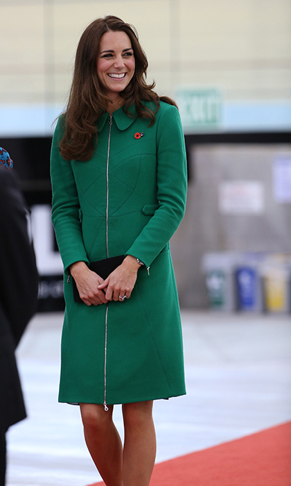 <p>Jewel tones really suit the Duchess of Cambridge! Kate was a complete vision in Erdem's vibrant 'Allie' wool crepe coat when she arrived to open the new Avanti Drome at New Zealand's Cycling Centre of Excellence in Waikato in April 2014.