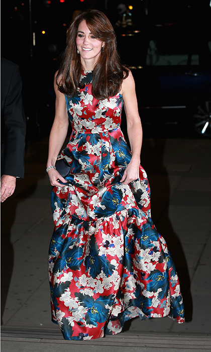 <p>This is a gown fit for a duchess! Kate was all smiles as she arrived for the 100 Women in Hedge Funds gala dinner in London in October 2015. Her Erdem Alouette printed silk-gazar gown featured a bright floral print that flattered Kate's petite frame.