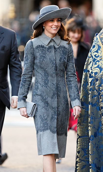 <p>Kate has a way of making even neutral colours pop! The duchess wore a knee-length coat, with a matching hat and pumps, in a regal slate-grey hue. She was attending the Commonwealth Observance Day Service at Westminster Abbey in March 2016.